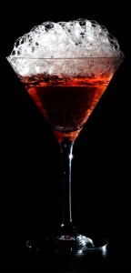 Versawhip cranberry bubbles on cosmopolitan cocktail