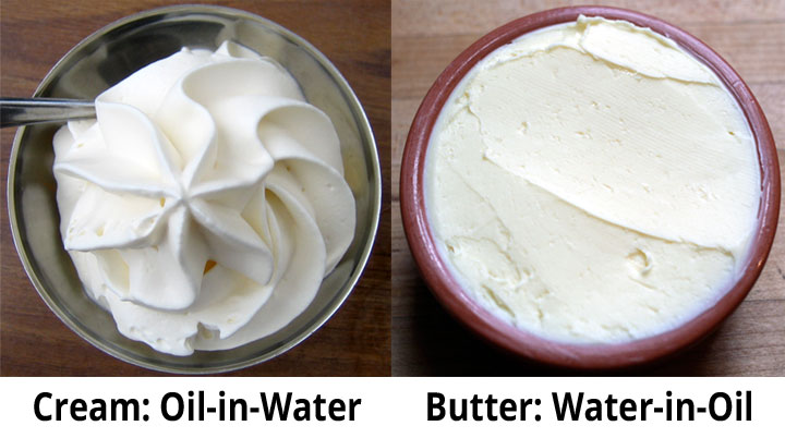 Cream O/W emulsion vs Butter W/O emulsion