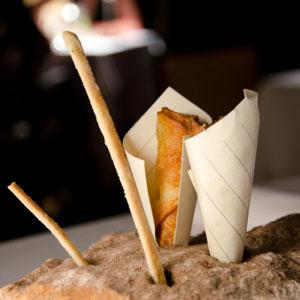 Grissini and vitello tonnato potato cones