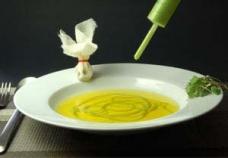 4-Instant Pea Parmesan Noodle in Saffron Consomme with Morel Dust
