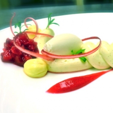 Modernist Cheesecake - Rhubarb, Lemon, Bay Leaf