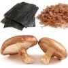 Umami rich ingredients kombu, katsuobushi and shiitake mushrooms