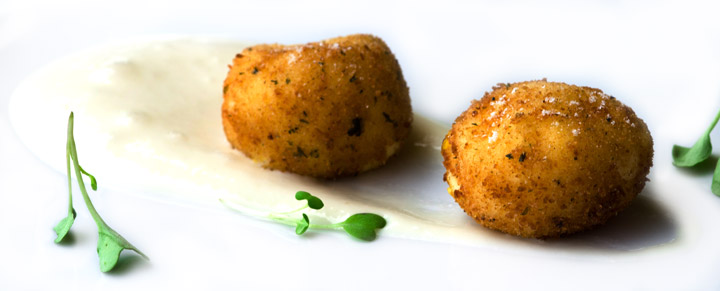 iSi Gourmet Whip gruyere foam and Sous Vide egg yolk croquette