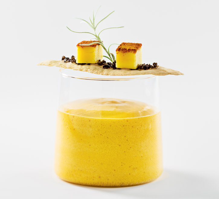 Mango Coconut Foam soup