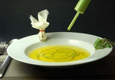 4-Instant Pea Parmesan Noodle in Saffron Consomme with Morel Dust