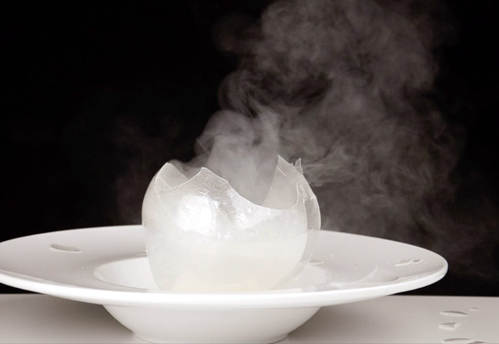 Blown sugar isomalt sphere oak smoke