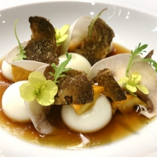 Liquid Parmesan Gnocchi with Mushroom Infusion by Chef Jordi Cruz at ABaC-sqr