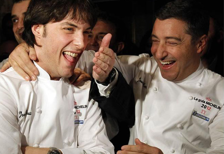 Chef Joan Roca congratulating Chef Jordi Cruz for his second Michelin Star