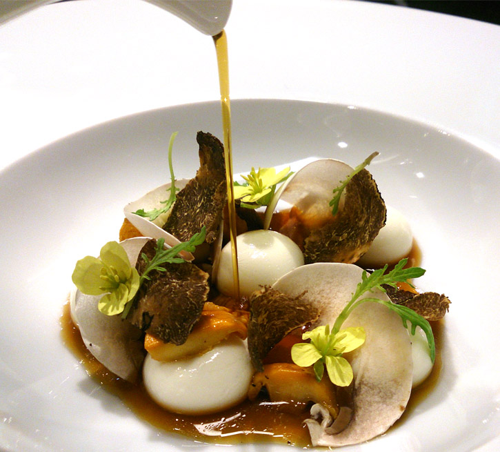 Liquid Parmesan Gnocchi with Mushroom Infusion by Chef Jordi Cruz at ABaC corrected