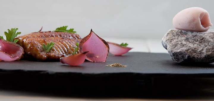 Glazed eel with marinade sorbet