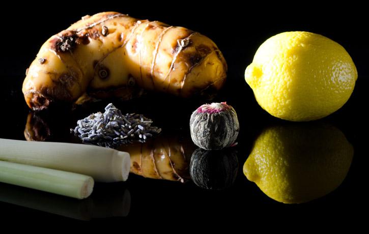 Hot Infusion Siphon Cocktail: Jasmine, Lavender, Galangal, Lemon, Lemongrass