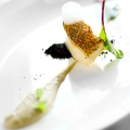 Merluza Negra, Artichoke Cream, Black Olive Powder, Sea Air