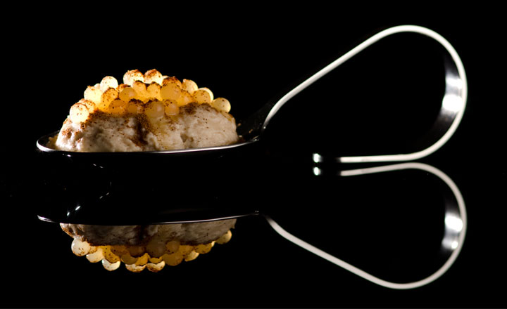 iSi Gourmet Whip banana foam and Apple Juice Caviar