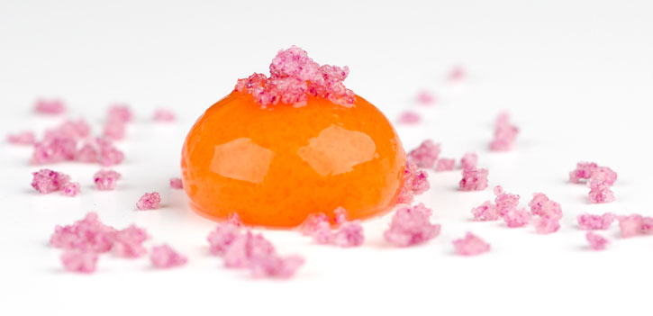 Carrot Orange Mango Liquid Sphere with Rose Crystals - Frozen Spherification