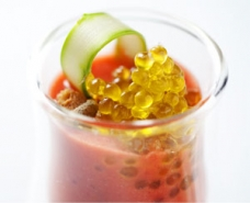 Strawberry Salmorejo with Olive Oil Caviar