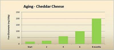 Umami - glutamate in aging cheddar cheese