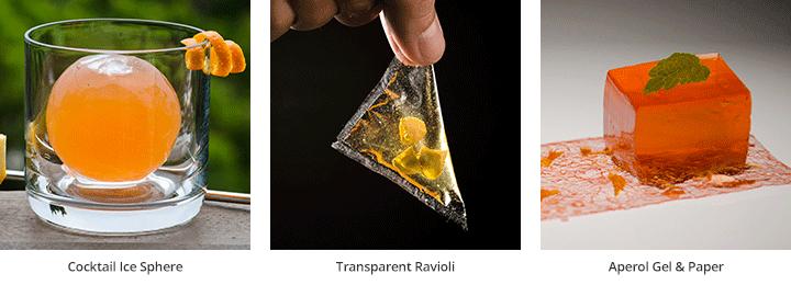 Ice Sphere Cocktail - Transparent Ravioli - Aperol Gel & Paper